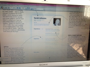 Excuse the awful quality of this picture... but it briefly shows you the guide I based my media CV on...