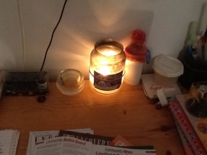 My Yankee candle... a regular addition to my evenings of writing.