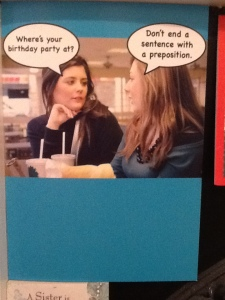 A fitting card from my work on my birthday...
